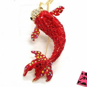 Red Fish Betsey Johnson Necklace Brooch NWT